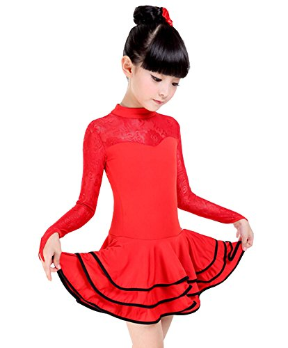 Girls New Lace Costume Performance Latin Dance Dress RED(125-135CM Height)
