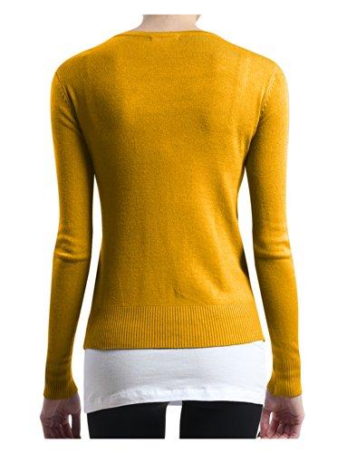 LE3NO Womens Basic Round Neck Fine Knit Cardigan  MUSTARD X-Large