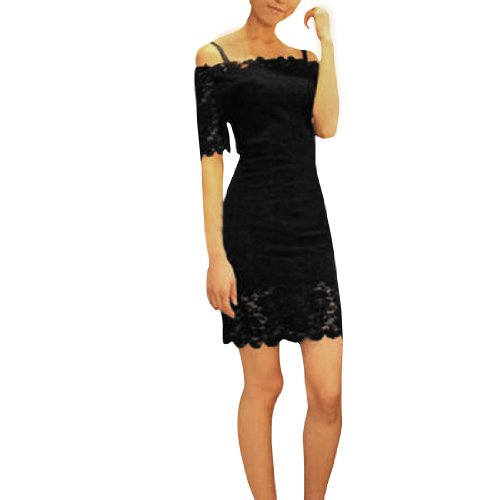 Allegra K Ladies Boat Neck Off Shoulder Semi Sheer Lace Mini Dress Black XS