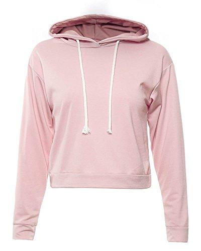 SaiDeng Donne Colore Puro Casual Sciolto Sportiva Felpa con Cappuccio Manica Lunga Corto Felpa Pink M
