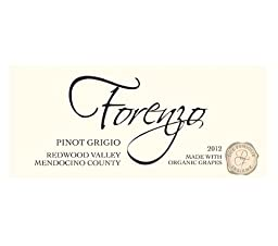 2012 Forenzo Vineyards Pinot Grigio Redwood Valley 750 ml - Made with Organic Grapes (4 Bottle Minimum Order Required)