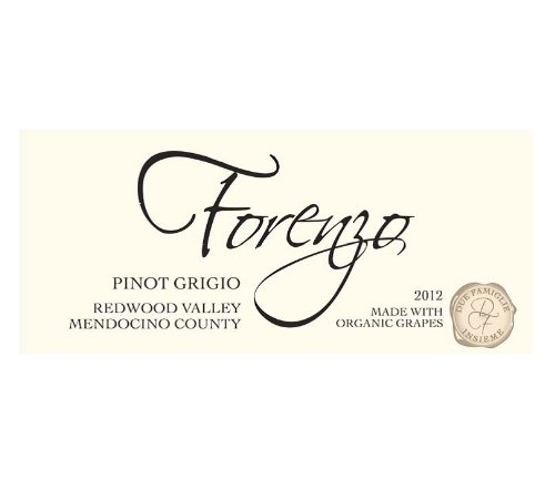 2012 Forenzo Vineyards Pinot Grigio Redwood Valley 750 mL (3 Bottle Minimum Order Required)