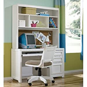 Lea Elite Reflections Desk w/Hutch & Chair Bedroom Set in White from Lea Industries