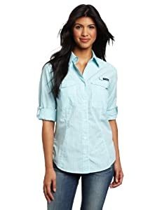 Columbia Women's Super Bonehead Long Sleeve Shirt, X-Large, Clear Blue, Gingham