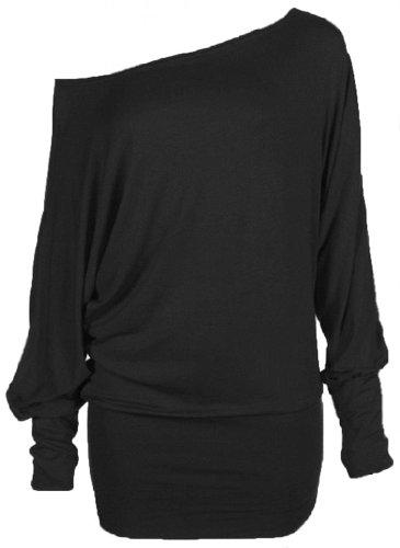 Hot Hanger Womens PLUS SIZE Batwing Top Plain Long Sleeve Off Shoulder Big Size Tshirt Top 16-26 : Color - Black : Size - 20-22 XXL (Plus Size Hot Lingerie compare prices)