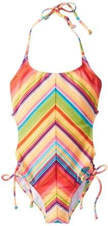 Roxy Big Girls'  Sundown Tri One Piece Stripe Swimsuit, Pink Sundown, 10