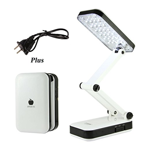 Superproducts New Designed Fashional Colourful Portable Foldable Rechargeable Eye Protective 24 Leds Charging Table Desk Lamp Light with 800mah Battery - for Reading, Studying, Working, Camping, etc.(white) - 1