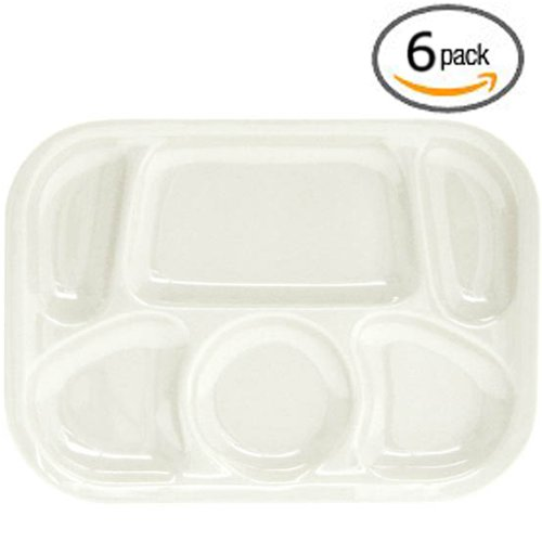 "Set Of 6: Durable Melamine Compartment Mesh Trays - Stackable - 13"" X 9 1/2"" - White - Dishwasher Safe"