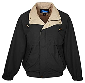 Tri-mountain Cotton/poly poplin jacket with poplin lining. 5300TM - BLACK / KHAKI / KHAKI_S