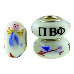Pi Beta Phi Sorority Hand Painted Fenton Glass Bead