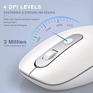 Type C Wireless Mouse, Jelly Comb Dual Mode 2.4G USB C Cordless Mouse with USB and Type C Receiver Compatible with Computer, Laptop, Tablets, Cellphone, Macbook and More Type C Device-White and Silver