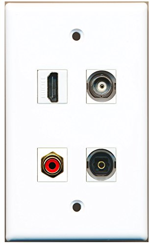 RiteAV - 1 Port HDMI 1 Port RCA Red 1 Port Toslink 1 Port BNC Wall Plate sale 2016