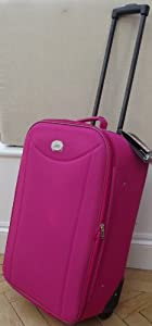Small 48 Lts Travel Luggage Suitcase On Wheels Bright Hot Pink Expanding Trolly Light Weight