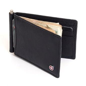 Mens Alpine Swiss Money Clip Front Pocket Wallet Spring Clip 9 Card Slots Leather - Black