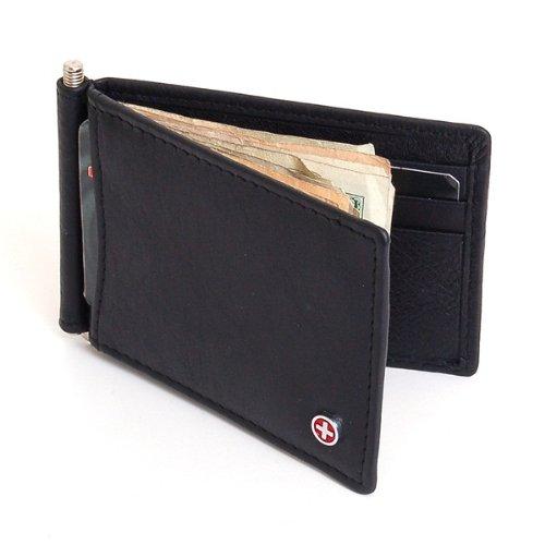 Imagen de Mens Alpine Swiss Money Clip Front Pocket Wallet primavera Clip 9 ranuras para tarjeta de Cuero - Negro