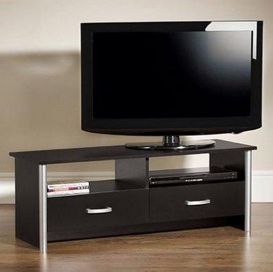 Meubles tv meuble pour t l viseur 2 tiroirs noir argent for Meuble pour televiseur
