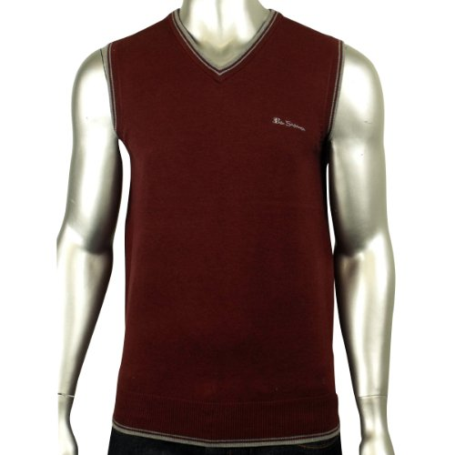 Mens Ben Sherman V-Neck Mod Knit Heritage Tank Top Jumper Retro Sweater XS