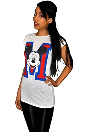 NEW WOMENS MICKEY MOUSE TOP TURN UP SLEEVE SLUBBY MICKEY MOUSE PRINT TOP UK 8-12 White S/M