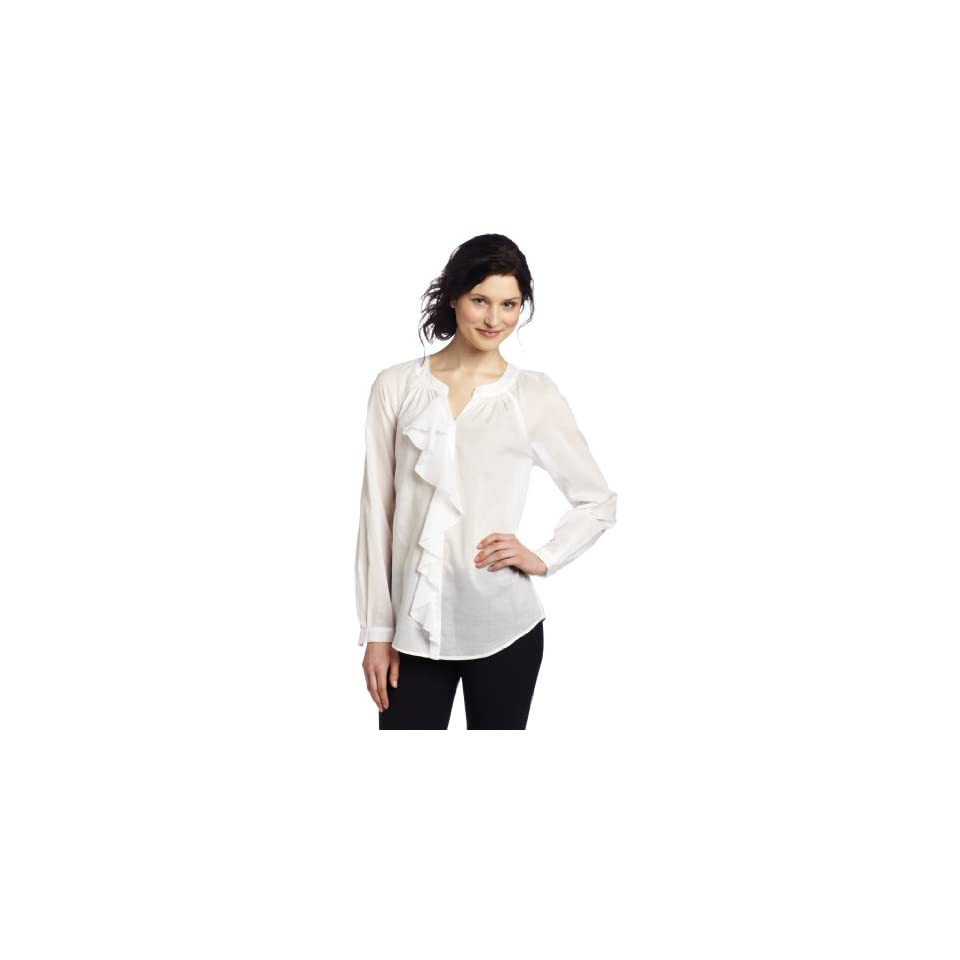AK Anne Klein Womens Lawn Long Sleeve Ruffle Blouse, White, Medium