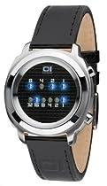 01TheOne ZE102B1 Zerone Mens Black Leather Strap Watch