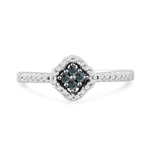 Platinum Plated Sterling Silver Blue And White Round Diamond Promise Ring (1/6 cttw)