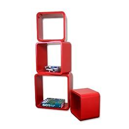Estanterias Flotantes Diseño Moderno Cubos Para Pared con Forma de Cubo CD Retro Librero Rojo LO02R