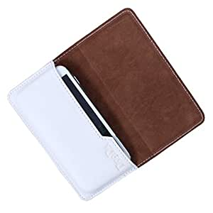Dooda Genuine Leather Flip Pouch Case For Lenovo A680 (WHITE)