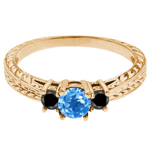 0.57 Ct Round Swiss Blue Topaz Black Diamond 14K Yellow Gold 3-Stone Ring