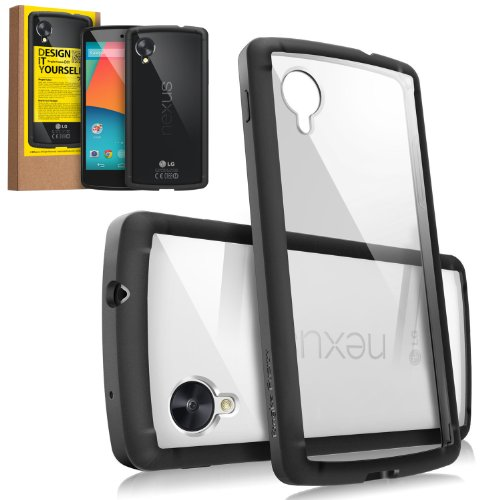[DROP PROTECTION] RINGKE FUSION® Google Nexus 5 Case Bumper [BLACK] -ENHANCED AND REVISED-The Best Selling Shock Absorption Bumper + Anti Scratch Clear Back Panel + Design It Yourself Active Touch Tec