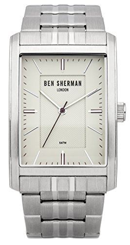 Ben Sherman Men's Quartz Watch with White Dial Analogue Display and Silver Stainless Steel Bracelet WB013SM