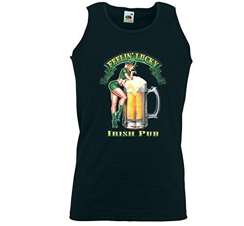 Irish Pub canottiera sportiva da uomo Feelin Lucky Pinup Birra Guinness nero XXL