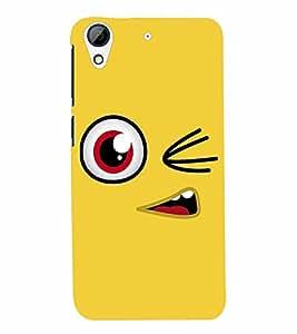 PrintVisa Cute Cartoon yellow Smiley 3D Hard Polycarbonate Designer Back Case Cover for HTC Desire 626