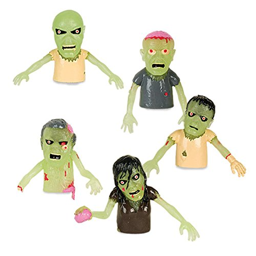 Set of 5 Glow in the Dark Zombie Finger Puppets Halloween Zombies - 1