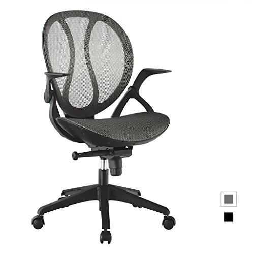 LANGRIA Mid-Back Mesh Executive Office Chair Ergonomic Design, Adjustable Height and Armrests, Cotton Padded Seat, Back Tilt Mechanism,360 Degree Swivel,Max 308.6 lbs (Grey) Executive Desk Assembly