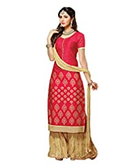 Mantra Fashion New Designer Printed Plazo Style Red And Beige Salwar Suit