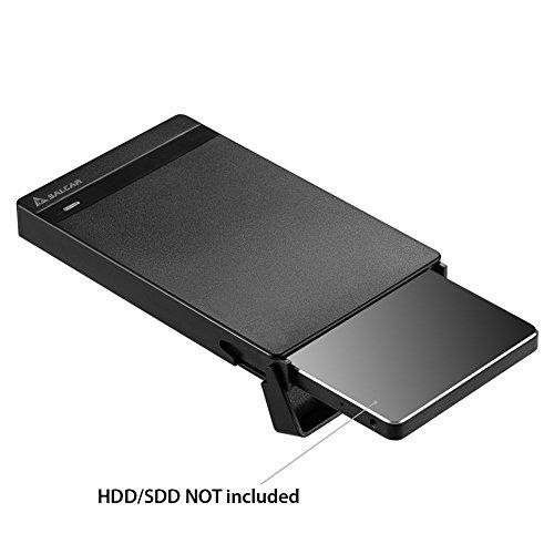 """Carcasa Salcar con USB 3.0 para discos duros HDD SDD de 2.5"""", estuche, adaptador, estuche para HDD y SDD SATA de 9,5mm 7mm 2,5"""" con cable USB 3.0, no requiere herramientas."""