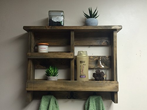 Bathroom shelf rustic bath towel rack metal hooks for Wood bathroom wall decor