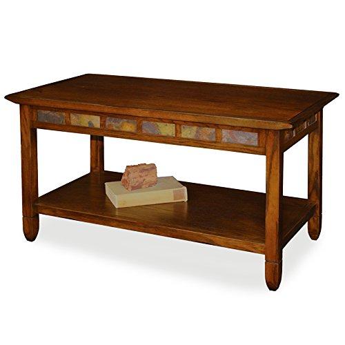 Rustic Slate Rectangular Coffee Table - Rustic Oak Finish (Slate Coffee compare prices)