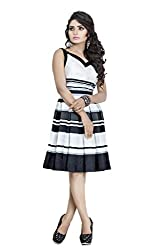 Sadhana Impex Satin Dress,White and Black(l)