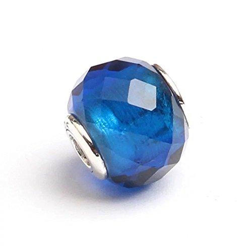 Angelbeads per DIY Essenza per braccialetto Pandora Charms in argento Sterling 925sfaccettato perline blu