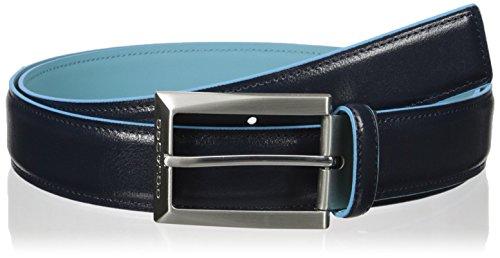 Cintura uomo con impunture e fibbia ad ardiglione, interno e bordi a contrasto in azzurro Blue Square PIQUADRO