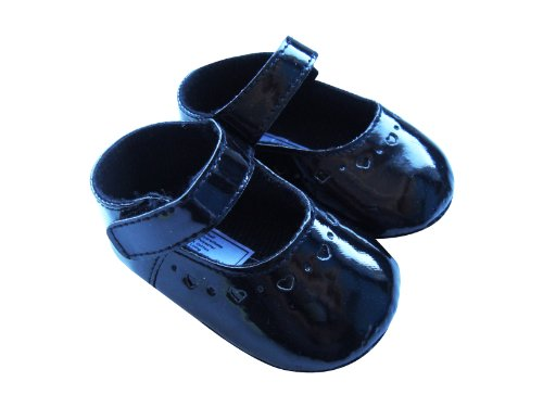 MABINI® Baby Girls Black Shoes With Small Love Hearts Design & Soft Sole (Gift Boxed)
