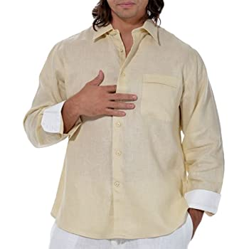 Linen long sleeve shirt with one pocket in Maize