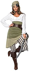 Smiffy's Women's Shipmate Sweetie Costume Top Skirt Leggings Bandanna Belt and Bootcuffs, Multi, Large