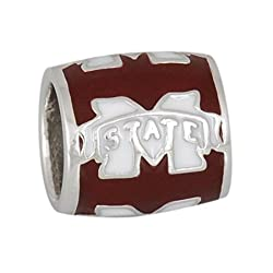 Teagan Collection Mississippi State Bulldogs White M on Maroon Bead