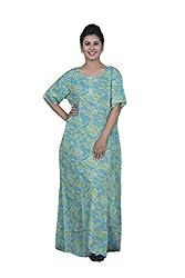 ChhipaPrints 100% Cotton Women Turquise Gown(1010_Turquise_48)