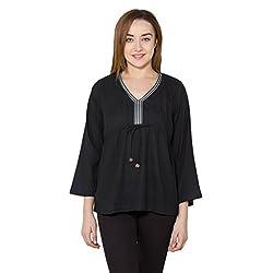 vasstram Pastels Black 3|4th Sleeves Women's Top