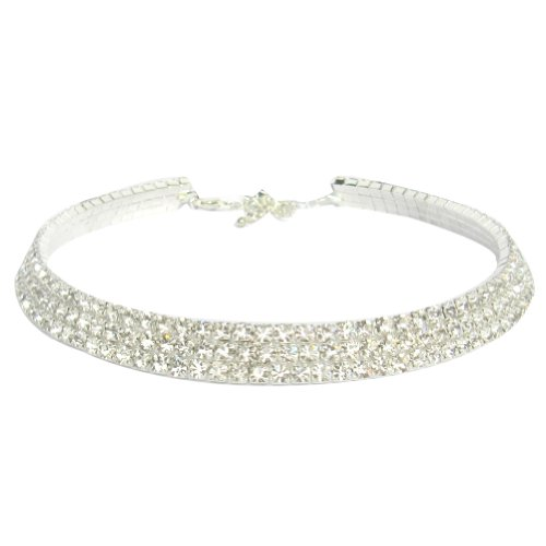 Zehui Bridal/wedding Party 3-row Cz Rhinestones Crystal Claw Chains Necklace Choker