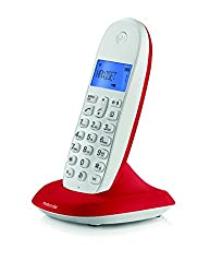 MOTOROLA C1001LBI COLOURFUL CORDLESS PHONE WHITE- CHERRY RED