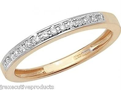 J R Jewellery 412500 9ct Yellow Gold Claw Set Diamond Half Eternity Ring 0.10CTW